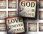 INSTANT DOWNLOAD Digital Images Sheet Religious Quotes Christian Love One Inch 7/8 Inch Squares for Tile Pendants - Magnets (GS84,GSS84)