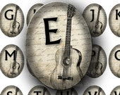 INSTANT DOWNLOAD Digital Collage Sheet Music Alphabet Guitar Handwriting Musical Instruments Large Ovals 30 x 40 mm for Pendants (OL38)