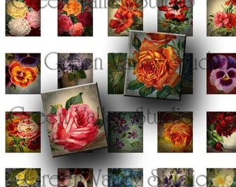 INSTANT DOWNLOAD Digital Images Floral Collage Sheet - Vintage Flowers Illustrations - .75 x .873 Inch for Scrabble Tile Pendants (S52)