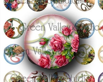 INSTANT DOWNLOAD Digital Art Images Collage Sheet Floral Vintage Flowers Swirls One Inch Circles for Pendants Magnets Scrapbooking (C59)