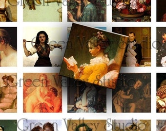 INSTANT DOWNLOAD Vintage Illustrations Fine Art Digital Images Collage Sheet One Inch and 7/8 Inch Squares for Pendants (GS9,GSS72)