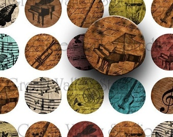 INSTANT DOWNLOAD Original Digital Art Music Musical Instruments Piano Guitar Violin Handwriting Digital Images Sheet One Inch Circles (C14)