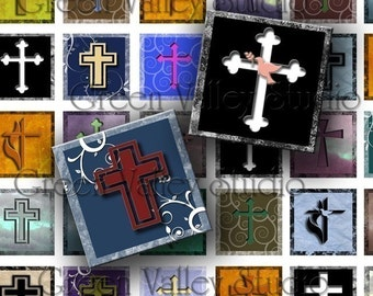 INSTANT DOWNLOAD Digital Images Sheets Religious Crosses Jesus Christian One Inch 7/8 Inch Squares for Tile Pendants Magnets (GS14,GSS12)
