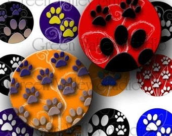 INSTANT DOWNLOAD Digital Art Images Collage Sheet Pet Paws Print Swirls Bright Colors One Inch Circles for Pendants Magnets (C64)