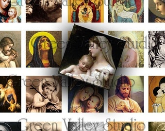 INSTANT DOWNLOAD Religious Illustrations Digital Images Sheet Jesus 2 Sizes One Inch and 7/8 Inch Squares for Pendants Crafts (GS7,GSS70)