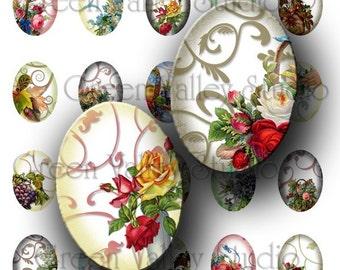 INSTANT DOWNLOAD Digital Collage Sheet Vintage Flowers Swirls Bouquets Medium Ovals 18 x 25 mm for Pendants Magnets Scrapbooking (O20)