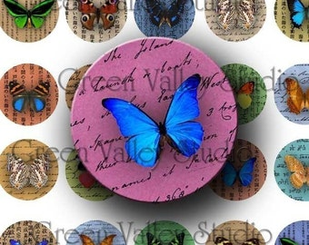 INSTANT DOWNLOAD Digital Images Collage Sheet Butterflies Handwriting Insects Nature 1 Inch Circles for Pendants Magnets Scrapbooking (C58)