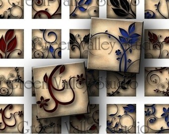 INSTANT DOWNLOAD Digital Art Images Sheet Flowers Leaves Swirls 2 Sizes One Inch and 7/8 Inch Squares for Tile Pendants (GS48,GSS44)