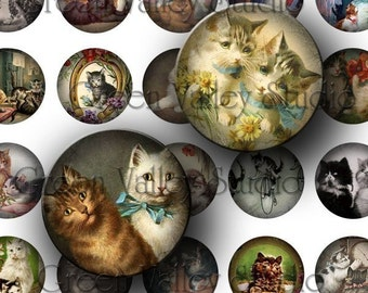 INSTANT DOWNLOAD Digital Collage Sheet Vintage Cat Animals Cats Illustrations One Inch Circles for Pendants Magnets Scrapbooking (C52)