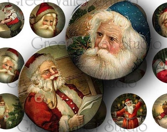 INSTANT DOWNLOAD Digital Collage Sheet Vintage Santa Claus Noel Christmas Holidays One Inch Circles for Pendants Magnets Scrapbooking (C79)