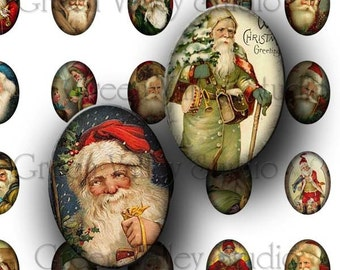 INSTANT DOWNLOAD Digital Collage Sheet Vintage Christmas Santa Claus Noel Postcards Holidays Ovals 18 x 25 mm for Pendants (O21)
