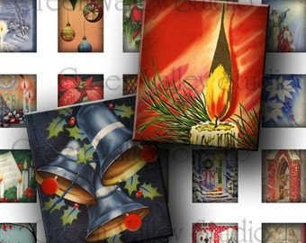 INSTANT DOWNLOAD Digital Images Collage Sheet Vintage Christmas Flowers Poinsettias Candles .75 x .873 Inch for Scrabble Tile Pendants (S71)