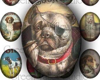 INSTANT DOWNLOAD Vintage Dogs Digital Art Images Collage Sheet Dog Animals Large Ovals 30 x 40 mm for Pendants Magnets Crafts (OL27)