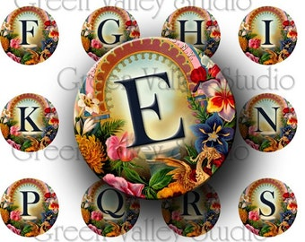 INSTANT DOWNLOAD Digital Images Collage Sheet Floral Alphabet Vintage Flowers Letters Initials One Inch Circles for Pendants Magnets (C90)