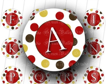 INSTANT DOWNLOAD Red Dots Alphabet Letters Digital Images Sheet Initials One Inch Circles for Pendants Magnets Scrapbooking (C92)