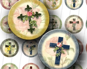INSTANT DOWNLOAD Floral Crosses Digital Collage Sheet Flowers Roses Cross Christian Inspirational 1 Inch Circles for Pendants Magnets (C93)