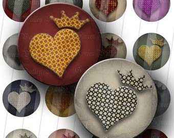 INSTANT DOWNLOAD Royal Hearts Digital Art Images Collage Sheet Heart Love Crowns One Inch Circles for Pendants Magnets Scrapbooking (C94)