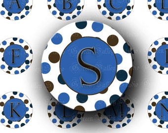 INSTANT DOWNLOAD Blue Dots Alphabet Digital Collage Sheet Letters Initials Round One Inch Circles for Pendants Magnets Scrapbooking (C97)