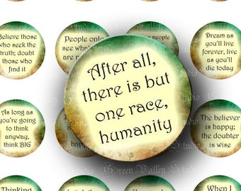 INSTANT DOWNLOAD Digital Images Collage Sheet Interesting Quotes Phrases Sayings One Inch Circles for Pendants Magnets Scrapbooking (C100)