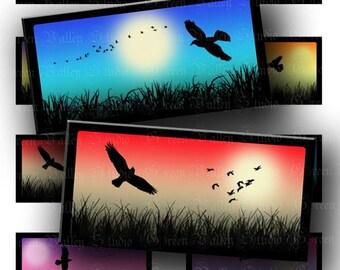 INSTANT DOWNLOAD Mini Landscapes Birds Sunset Sunrise Digital Images Sheet Horizontal Landscape Format 1 x 2 Inch Tiles for Pendants (T76)