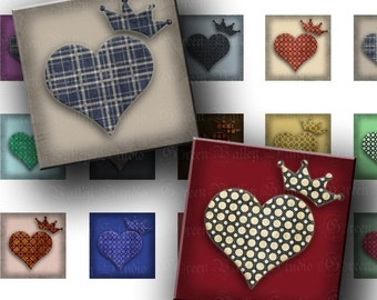 INSTANT DOWNLOAD Royal Hearts Love Crowns Digital Images Sheet 2 Sizes One Inch and 7/8 Inch Squares for Pendants Crafts (GS94,GSS94)