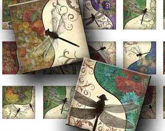 INSTANT DOWNLOAD Floral Dragonflies 2 Digital Images Sheets Fruits 1 Inch and 7/8 Inch Squares for Tile Pendants Crafts (GS102,GSS102)