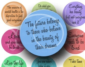 INSTANT DOWNLOAD Digital Images Sheet Inspirational Quotes 1 1/2 Inch Phrases Love Life 1.5 Inch Circles for Pendants Magnets (CPS15)