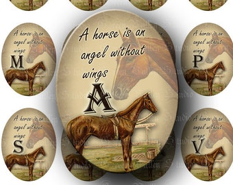 "INSTANT DOWNLOAD Horse Alphabet Digital Images Sheet ""A horse is an angel without wings"" Large Ovals 30 x 40 mm for Pendants Magnets (OL45)"