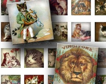 INSTANT DOWNLOAD Digital Images Sheet Vintage Cats Feline Lion Tiger 1 Inch and 7/8 Inch Squares for Tile Pendants Magnets (GS111,GSS111)