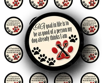 INSTANT DOWNLOAD Dog Lovers Alphabet Digital Collage Sheet Paw Print Dog Quote Red Black Letters One 1 Inch Circles for Pendants (C116)