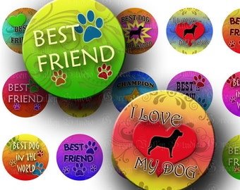 INSTANT DOWNLOAD Digital Images Collage Sheet Dog Lover Designs Champion Best Dog Paws Pet One 1 Inch Circles for Pendants Crafts (C118)