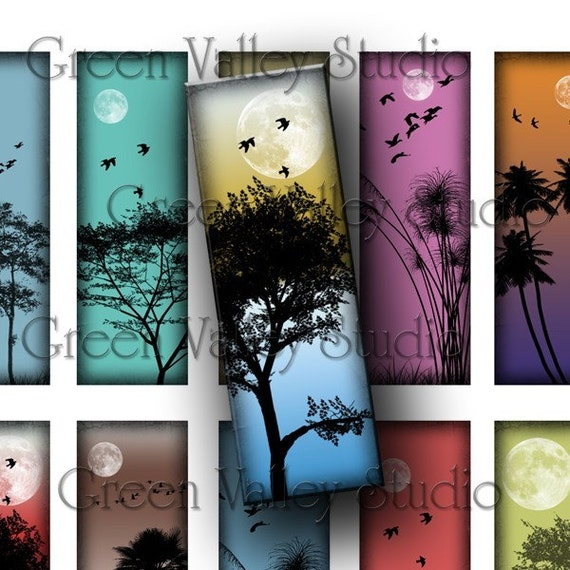 INSTANT DOWNLOAD Digital Collage Sheet Mini Landscapes Moon Palm Trees Beaches Sunset 1 x 3 Inches Microscope Slides for Pendants (M36)