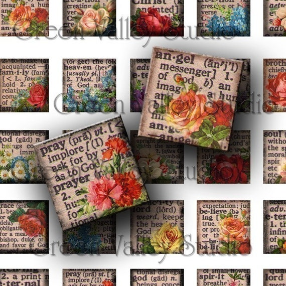 INSTANT DOWNLOAD Digital Images Sheet Vintage Dictionary Religious Words Inspirational 1 Inch and 7/8 Inch Squares for Pendants (GS27,GSS22)