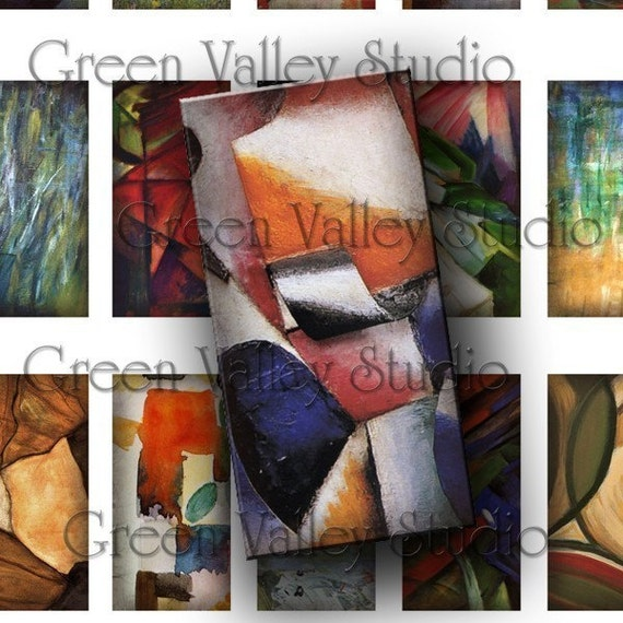 INSTANT DOWNLOAD Digital Collage Sheet Famous Paintings Beautiful Abstract Art 1 x 2 Inch Tiles for Pendants Magnets Scrapbooking (T40)