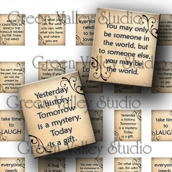 INSTANT DOWNLOAD Digital Collage Sheet Inspirational Sayings Phrases Words Love Laugh Hug .75 x .873 Inch For Scrabble Tile Pendants (S55)