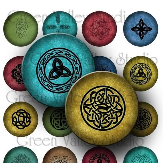 INSTANT DOWNLOAD Digital Art Images Collage Sheet Celtic Designs One Inch Circles for Pendants Magnets Scrapbooking (C77)