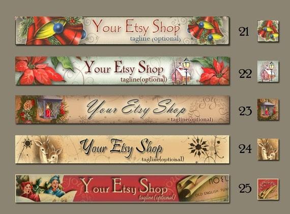 Etsy Shop Banner Set - Avatar - Holidays - Christmas - Poinsettias - Noel - Bells - Christmas Cottage (Set 21-25)