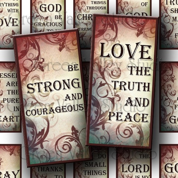 INSTANT DOWNLOAD Digital Collage Sheet Religious Quotes Phrases Christian God Love Inspirational Sayings 1 x 2 Inch Tiles for Pendants (T61)