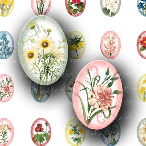 INSTANT DOWNLOAD Digital Collage Sheet Colorful Flower Swirls Nature Flowers Botanicals Medium Ovals 18 x 25 mm for Pendants Magnets (O31)