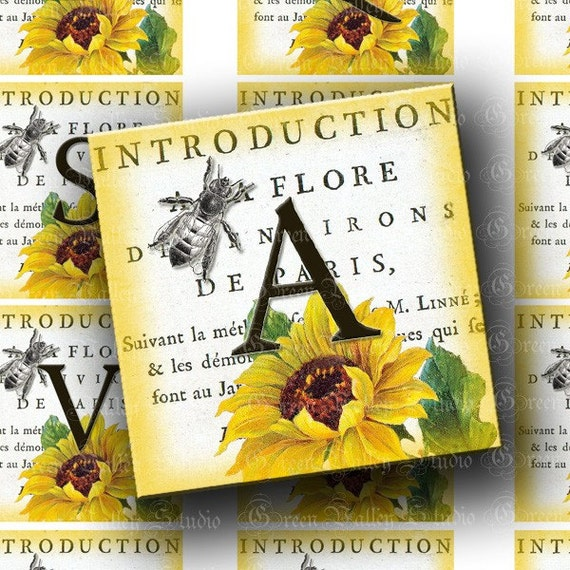 INSTANT DOWNLOAD Digital Images Sheet French Inspired Alphabet Paris Sunflowers Vintage Style 2 Inch Squares for Pendants Crafts (GSTWO13)