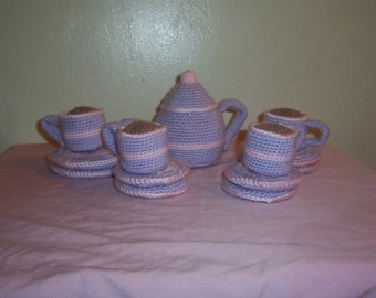 Crochet Tea set Lavender with Baby Pink Stripe