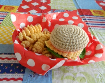 Hamburger Crochet Toy Food Set 16 piece set