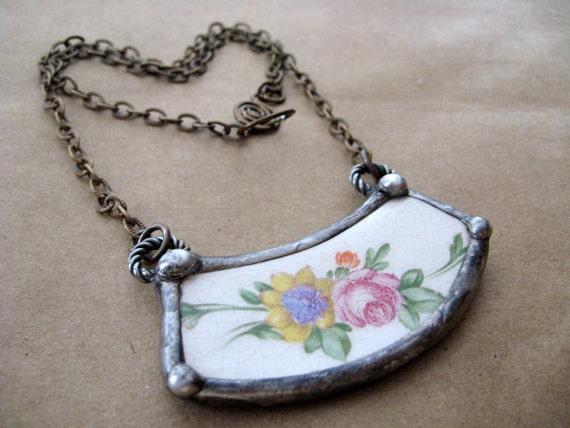 Vintage Floral China Plate. Soldered Pendant