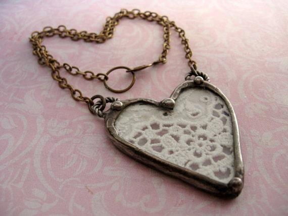 Vintage Lace Heart. Soldered Pendant.