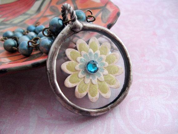 Spring Flower Glass Pendant. Soldered Flower Pendant.