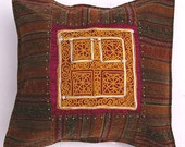 Embroidered Velvet Pillow with Afghan Vintage Textile, ''Afghanistan with Love''