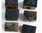Vintage Textile Stamp Set: India- Carved Wooden Animal Whistles, Item 20