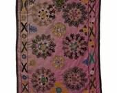 Vintage Central Asian Embroidered Textile, Uzbek Suzani Tapestry 30