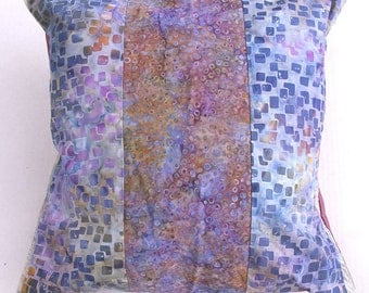 Purple Batik Pillow: Hand dyed Bali fabric, 16'', Item 1