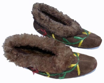 Vintage Embroidered Leather Slippers, Afghanistan, Size 7